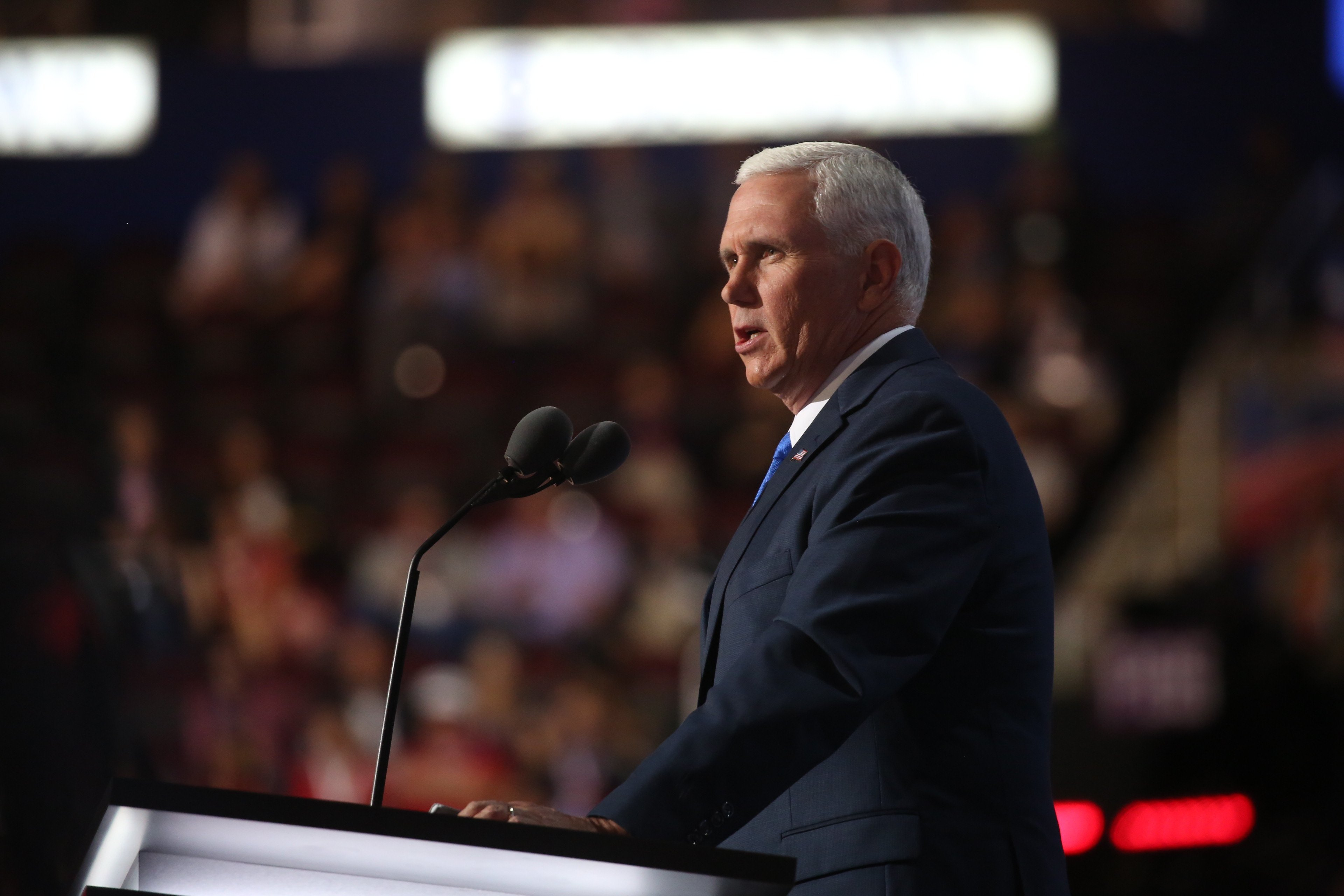 Republican Indiana Governor and Vicep President nominee Mike Pence speaks at the Republican National Convention in Cleveland Ohio on Wednesday
