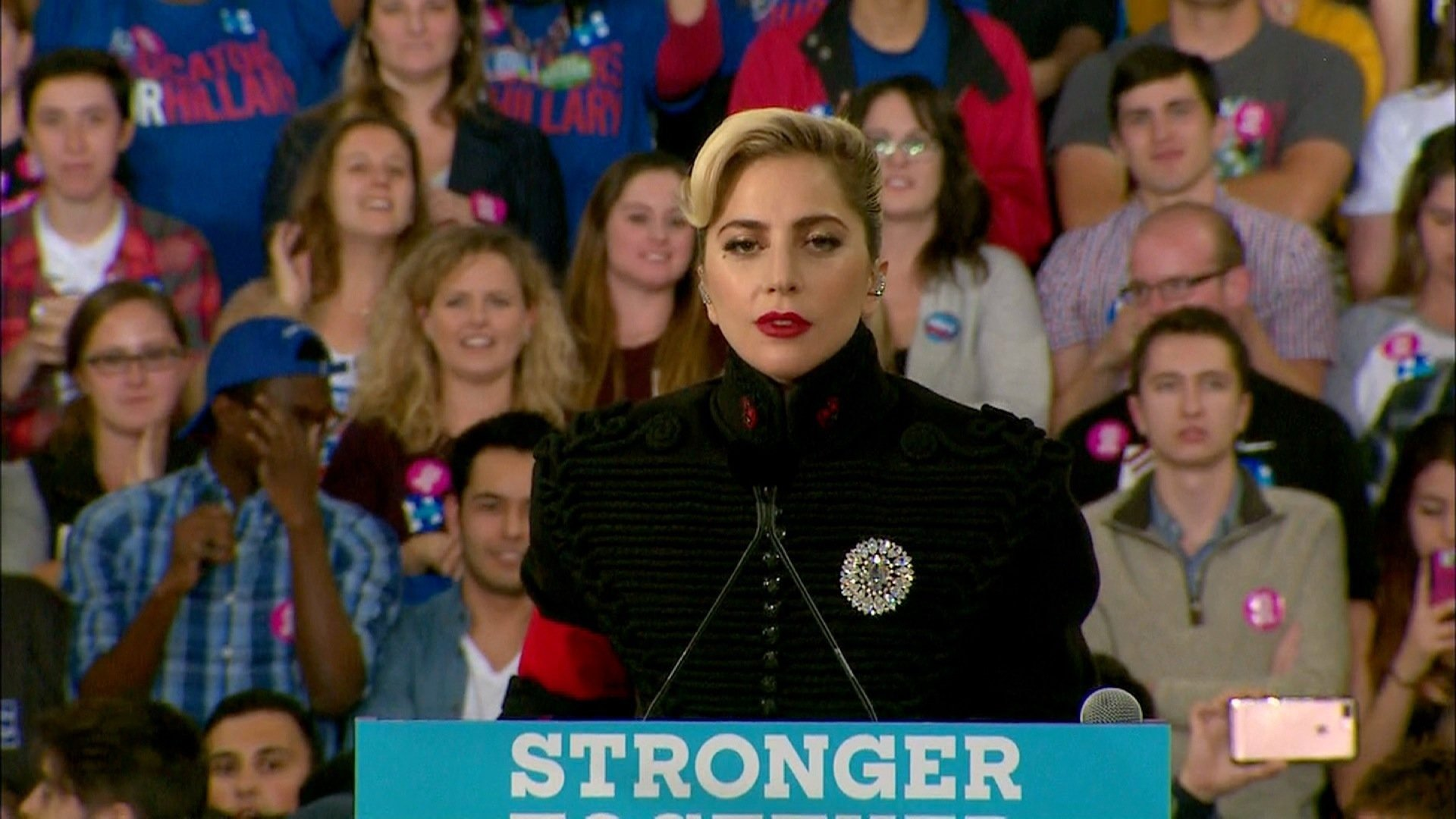 If you thought Lady Gaga's outfit at Hillary Clinton's rally Monday night looked familiar you're right. Gaga took the stage in North Carolina at Clinton's final campaign event and fans were quick to point out that the singer's jacket looked a lot like