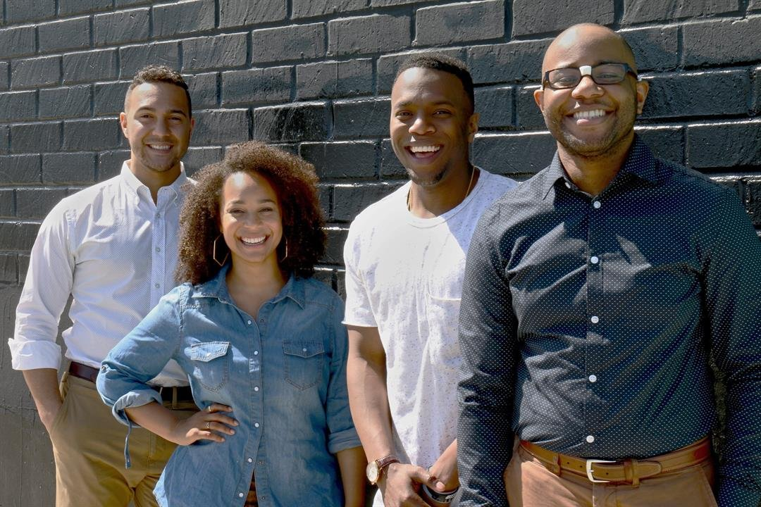 "The founders of Blavity, from left to right: Aaron Samuels, Morgan DeBaun, Jonathan Jackson and Jeff Nelson. Called Blavity (a mashup of ""black"" and ""gravity""), the web site is a gathering place for black millennials to share their thoughts, stories..."