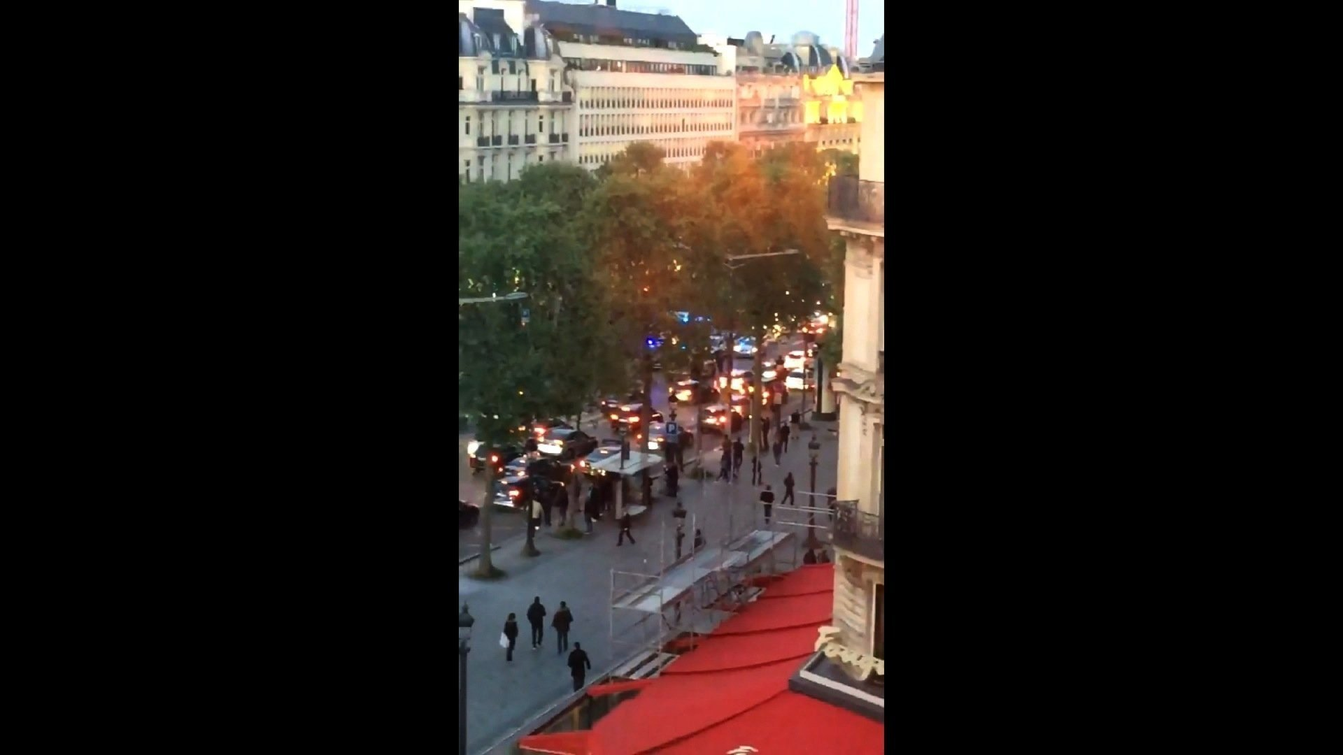 The scene of a shooting incident in the Champs-Elysées area in Paris, France.