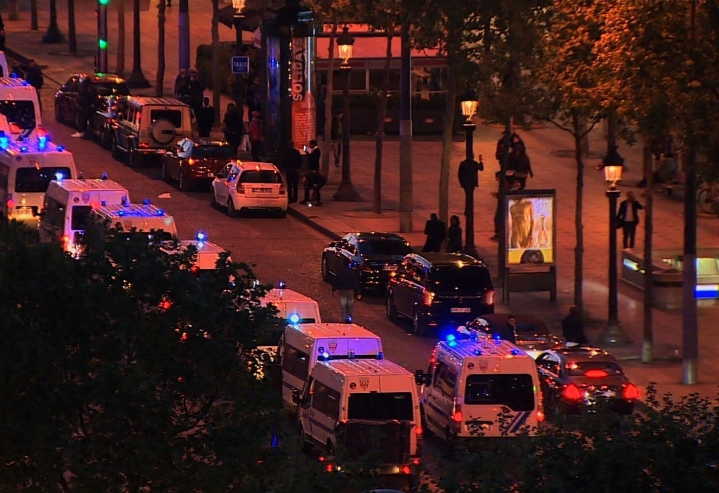 The Champs Elysees in Paris has been closed. Authorities are telling people to avoid the area. Multiple security vehicles are on the scene.