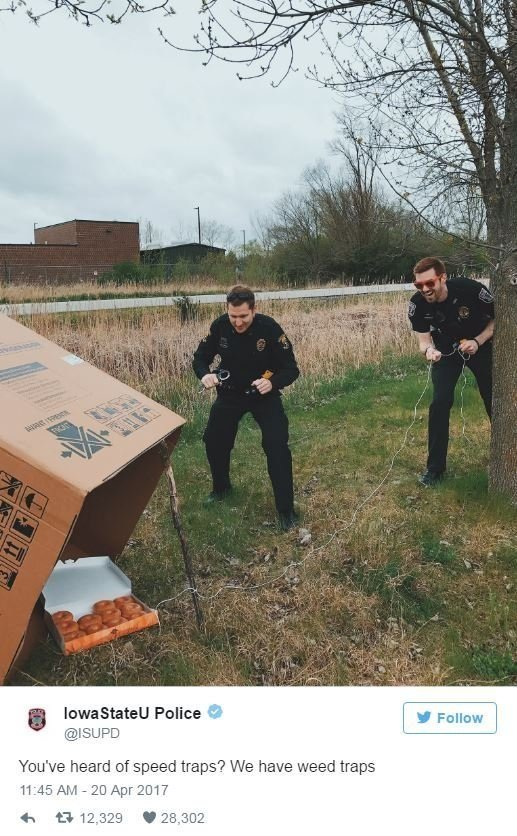 Police at Iowa State University announced a special enforcement strategy on their Twitter feed. The post showed two officers setting up a Wile E. Coyote-style box trap that used a dozen doughnuts for bait.