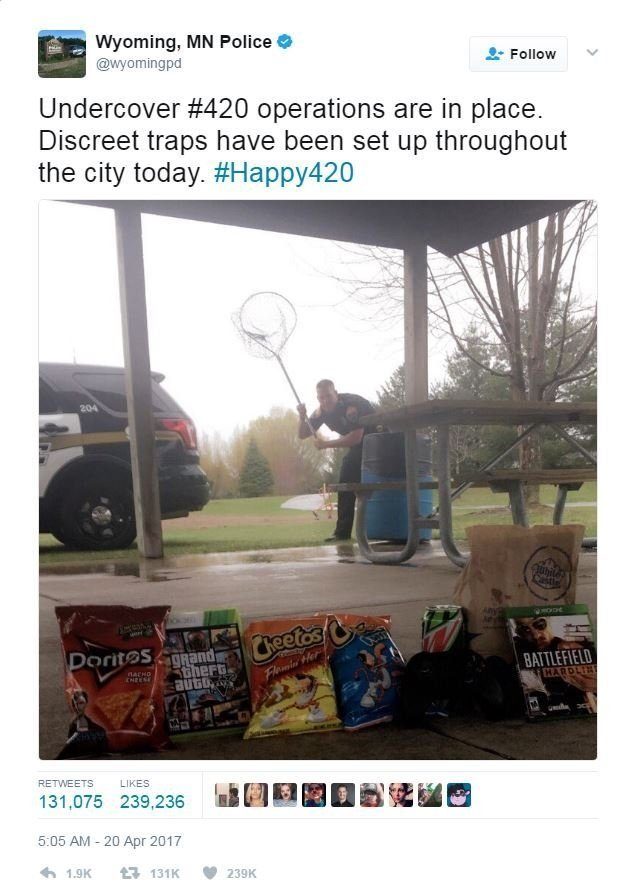 Police in Wyoming, Minnesota, laid out a tasty spread of chips, Mountain Dew and a bag of White Castle burgers and tweeted a picture of the goods on April 20th, 2017.