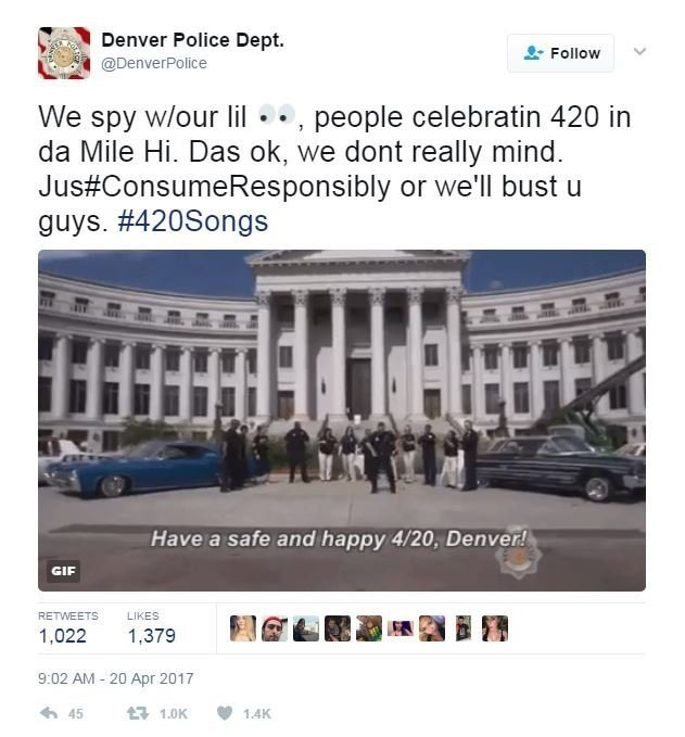 In Denver, where recreational marijuana use is legal, police took a much more laid-back approach with a dance party themed tweet.