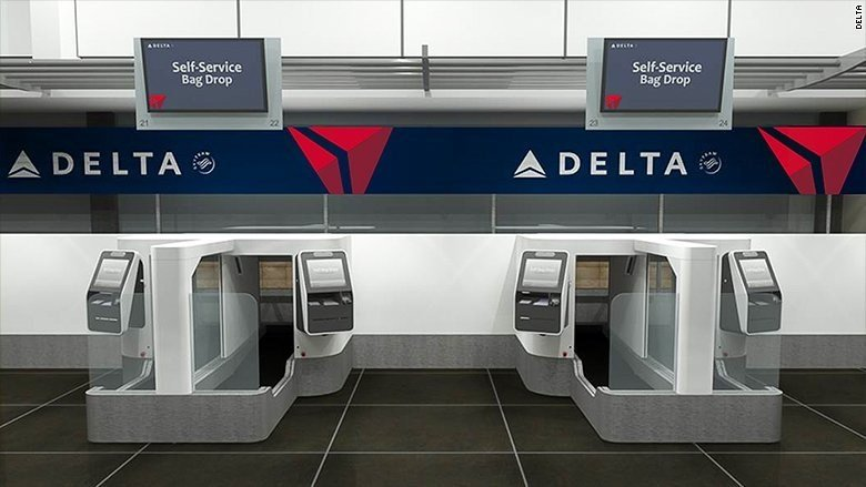 Delta is testing a face-scanning kiosk for baggage check. The machine allows passengers to bypass check-in agents. It uses facial recognition technology to match your identity to your passport