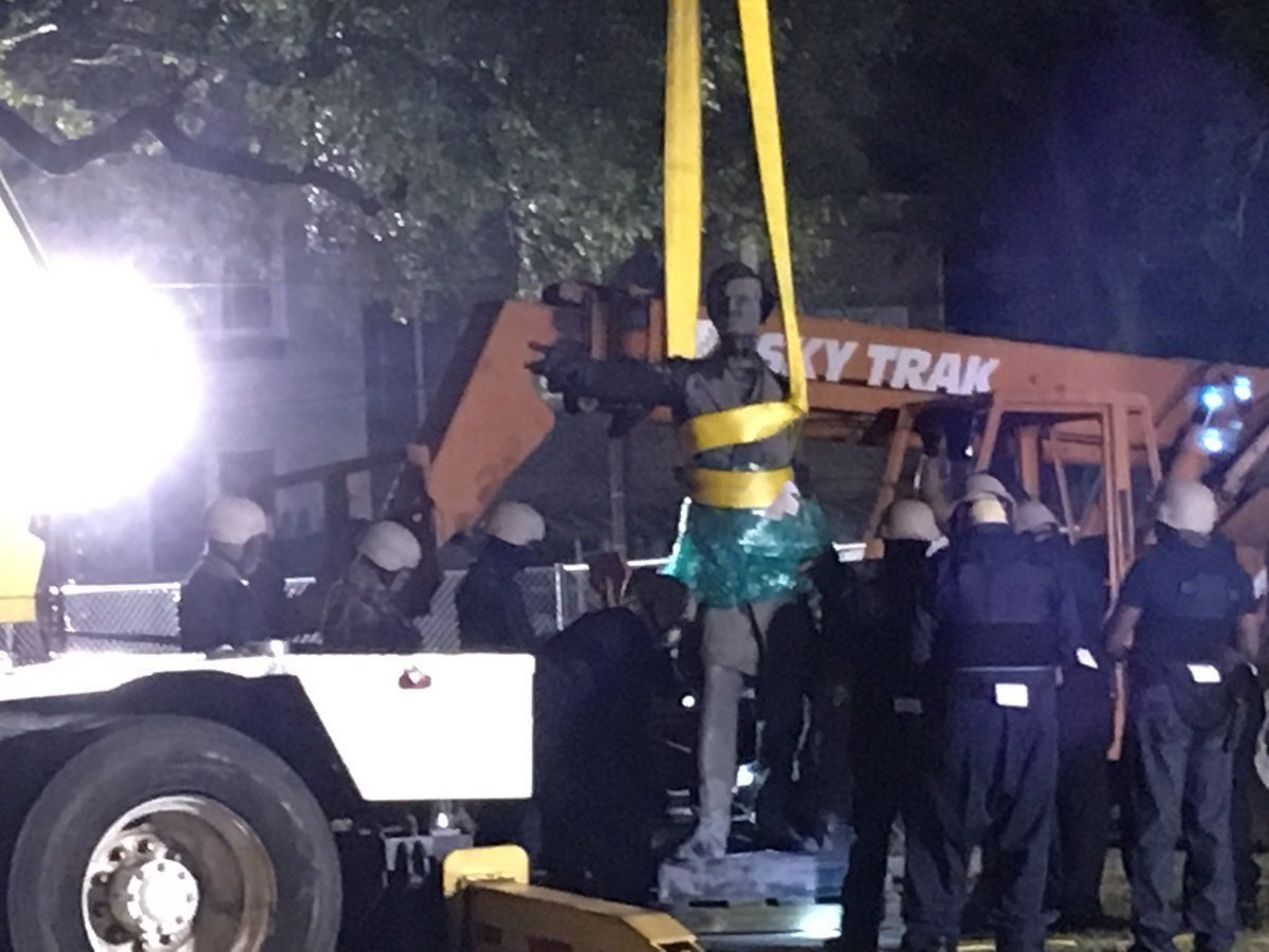 New Orleans Mayor Mitch Landrieu took photographs of the Jefferson Davis statue being removed from its pedestal overnight. The Davis statue was the second of the four monuments to be removed in the Crescent City. Statues of Confederate Generals Robert...