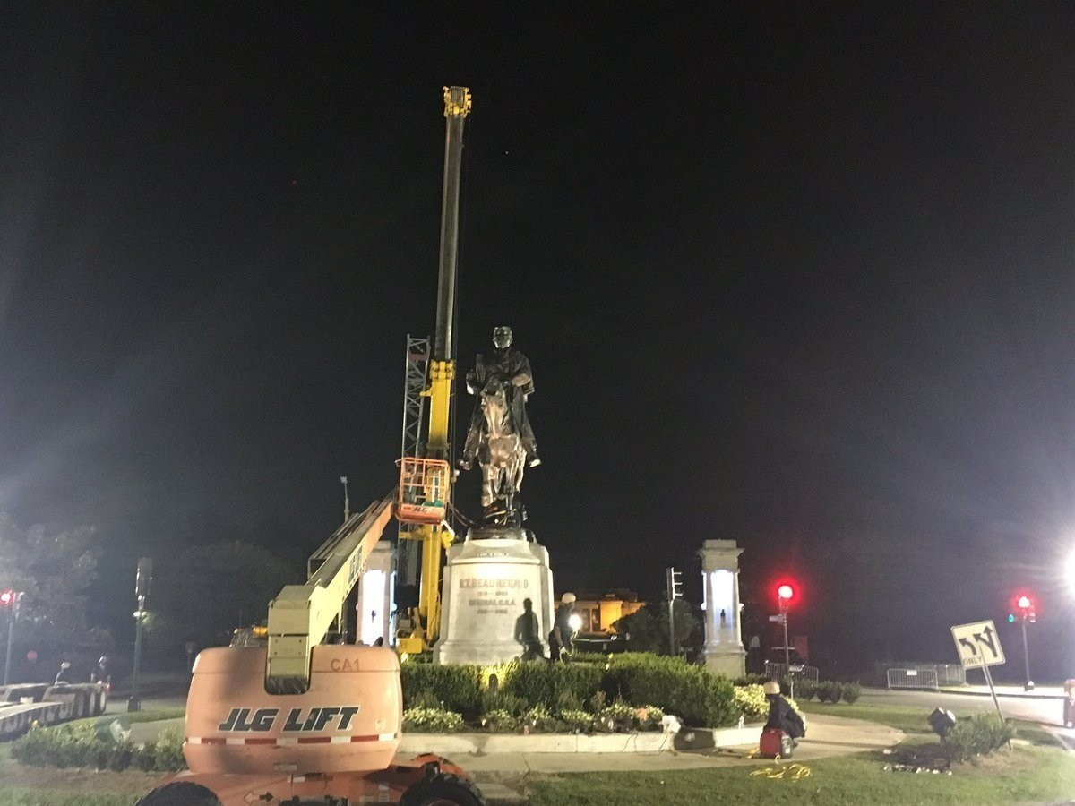 City officials began to remove the third of four New Orleans Confederate monuments Tuesday, May 16, 2017 evening. Mayor Mitch Landrieu took these photographs of the removal of the P.G.T. Beauregard statue and posted them on his verified Twitter page.
