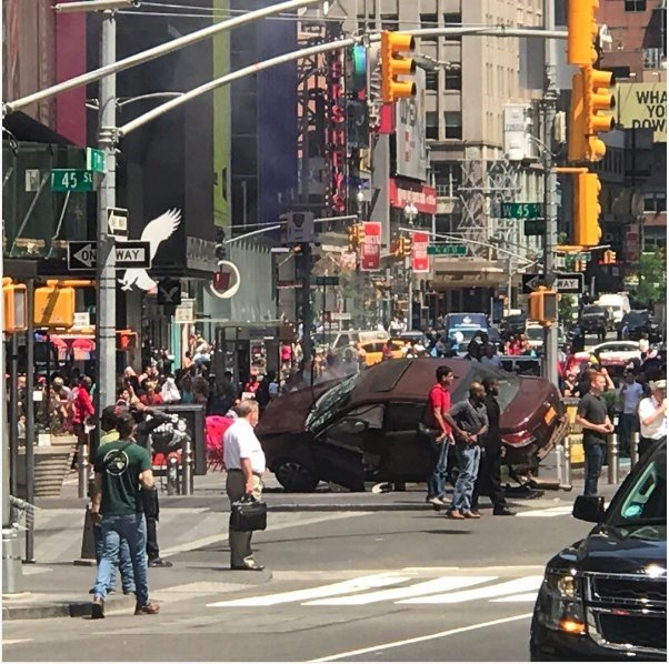 A motor vehicle incident in Manhattan's bustling Times Square Thursday, May 18, 2017, has left at least 13 people injured, fire officials said.