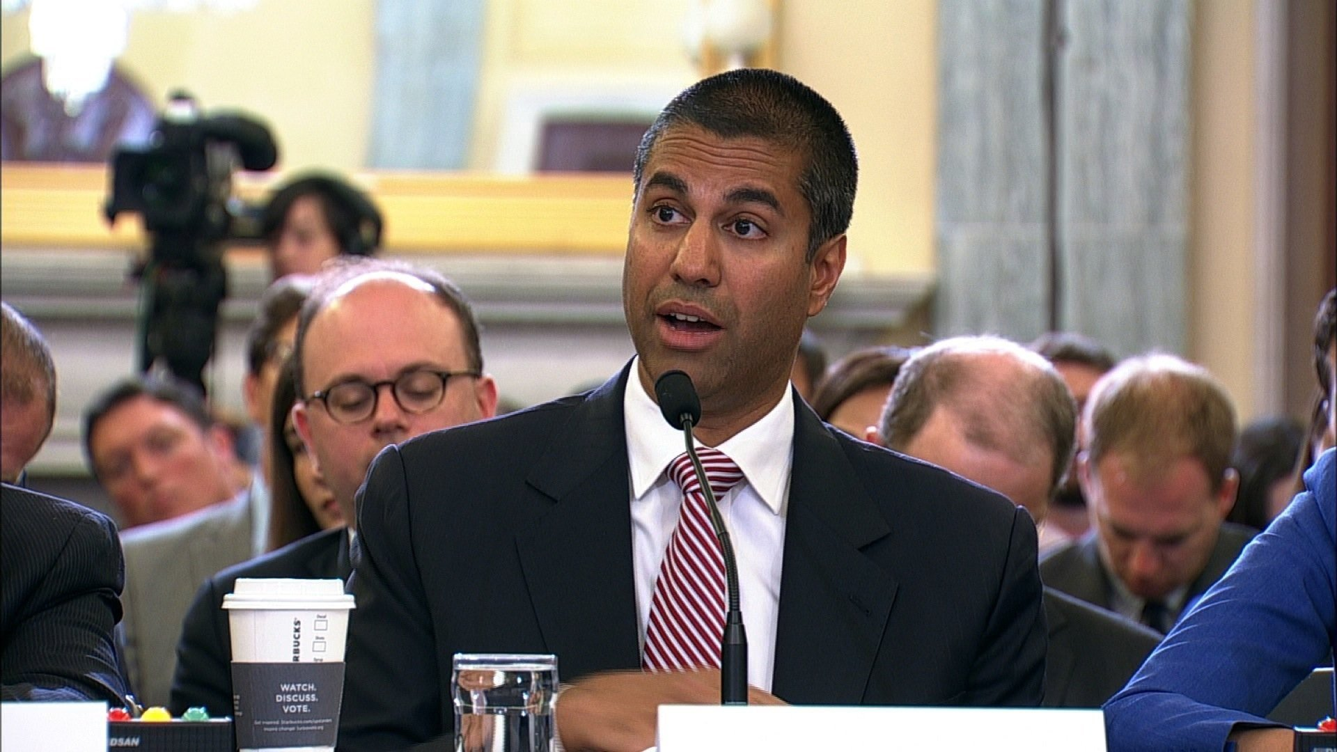 Ajit Pai, the chairman of the Federal Communications Commission, was grilled by two senators Wednesday about whether he agrees with Trump's recent claim that the media is the enemy of the American people. Pai is seen here speaking at a committee...