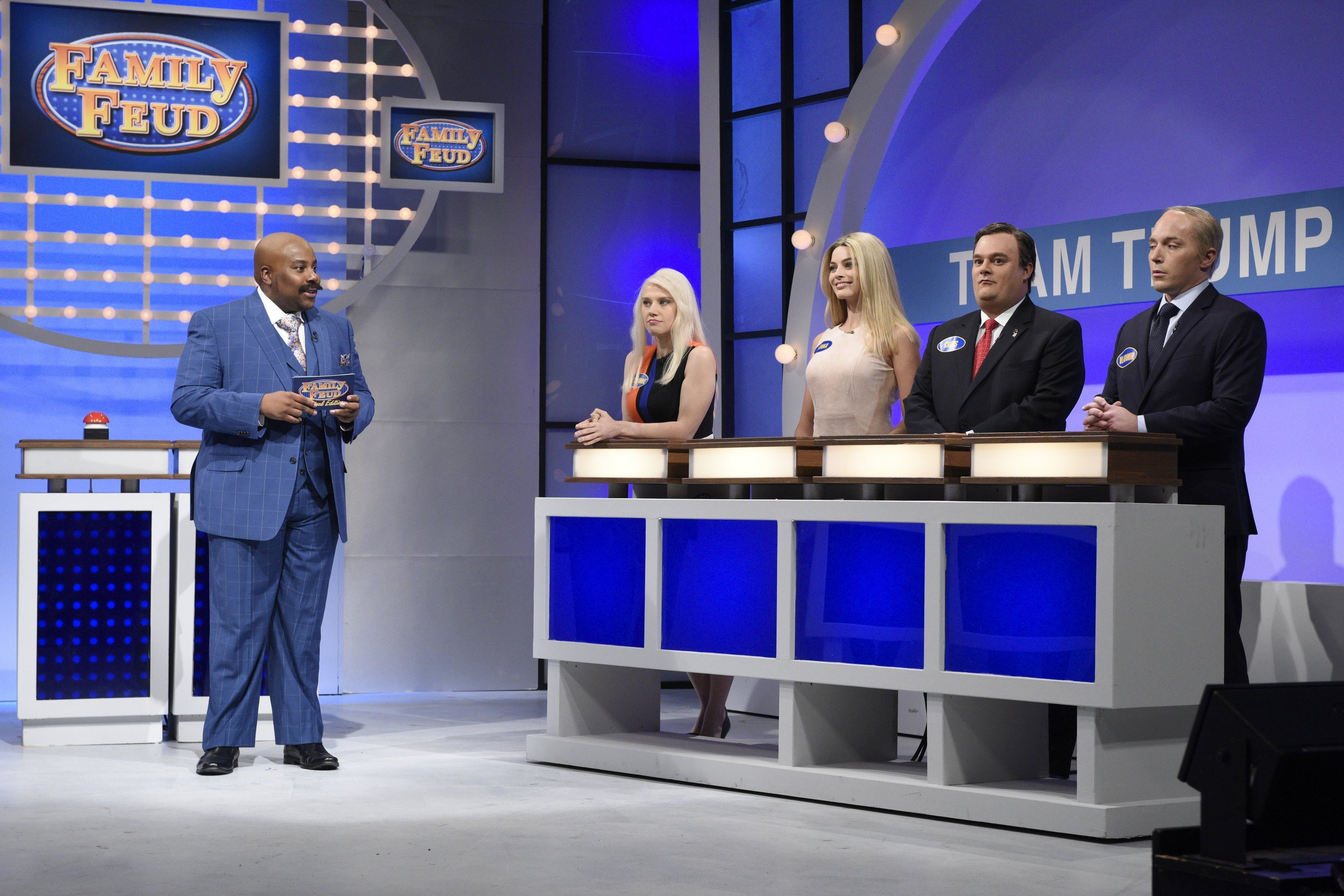 "The premiere also included a surprise appearance from Larry David reprising his role as Senator Bernie Sanders for a ""Family Feud"" sketch that pitted Team Trump vs. Team Clinton."