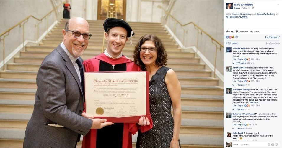 Harvard dropout Facebook CEO gets degree after 13 years