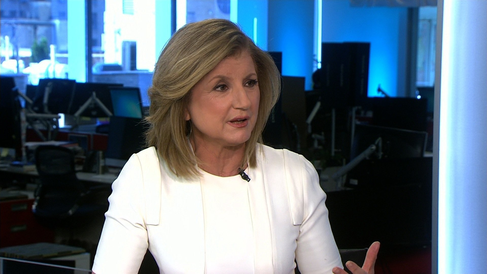 Arianna Huffington speaks to CNN in 2016