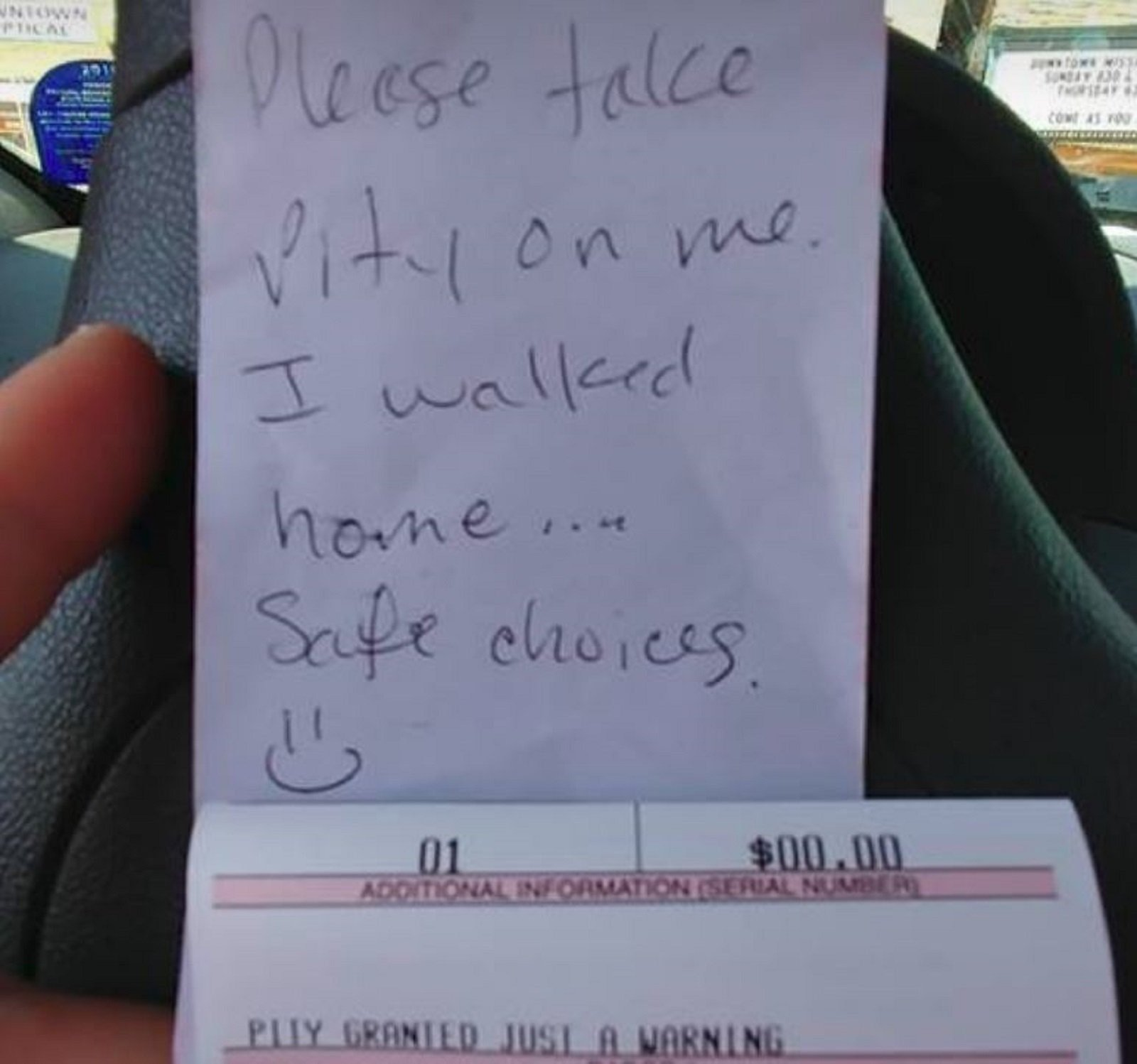 How a simple note could get you out of a parking ticket