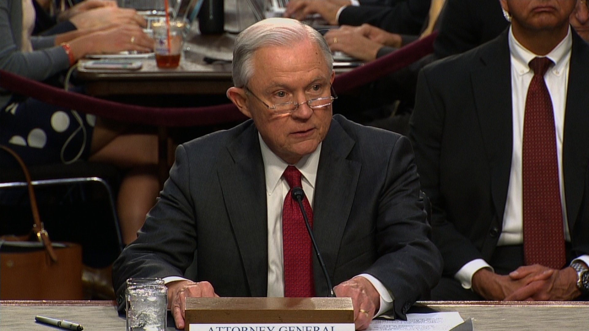 At hearing, attorney general denies 'false and scurrilous allegations' about Russia meeting