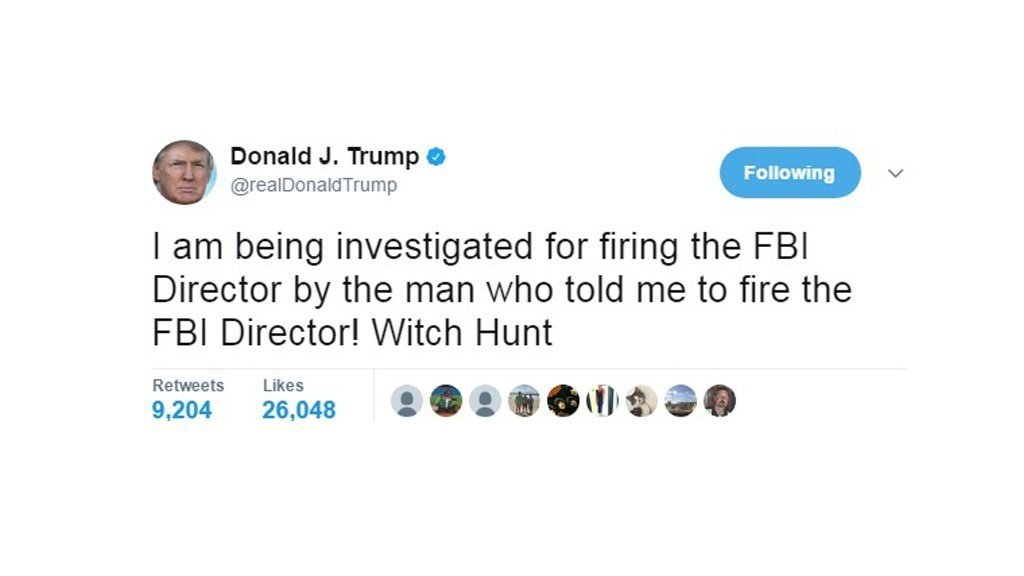Trump confirms that he is being investigated for firing FBI Director