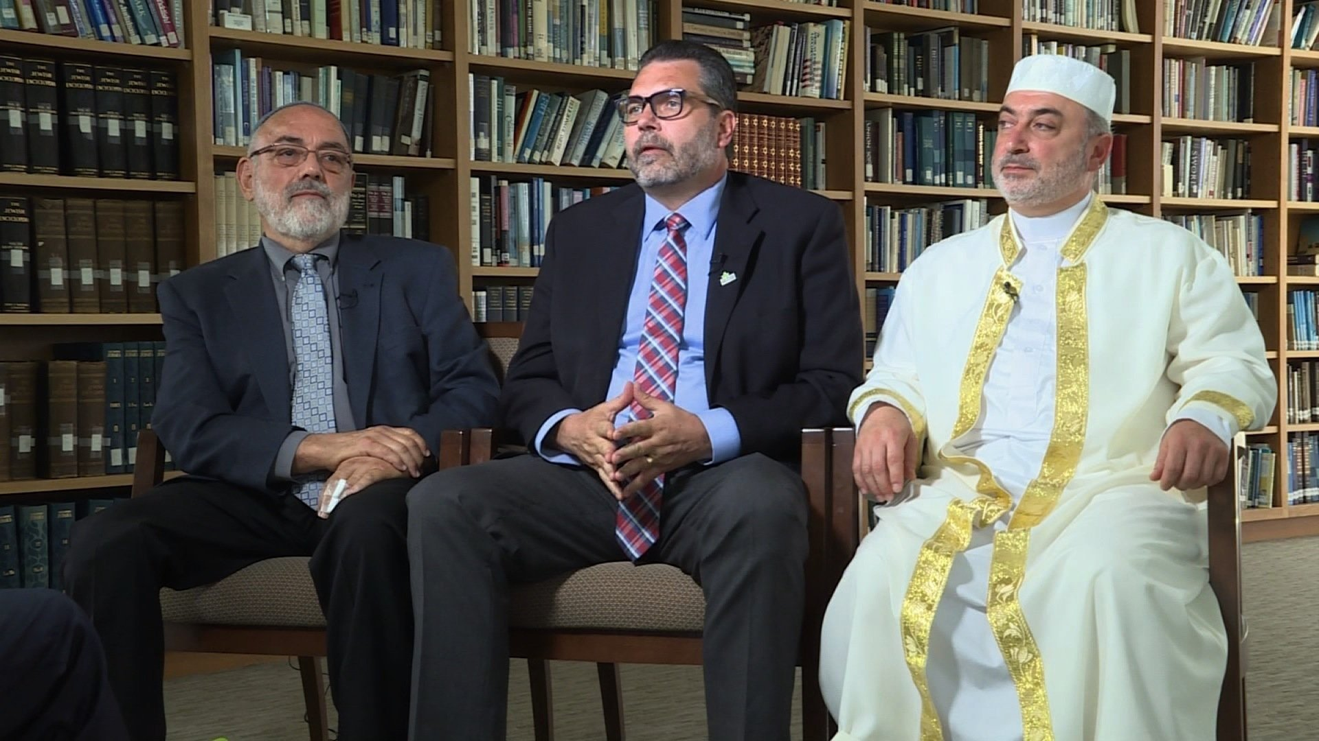The three clergymen leading congregations participating in the Tri-Faith Initiative are (L-R) Temple Israel Rabbi Emeritus Aryeh Azriel, Countryside Community Church Senior Minister Eric Elnes, and American Muslim Institute Imam Mohamad Jamal Daoudi.