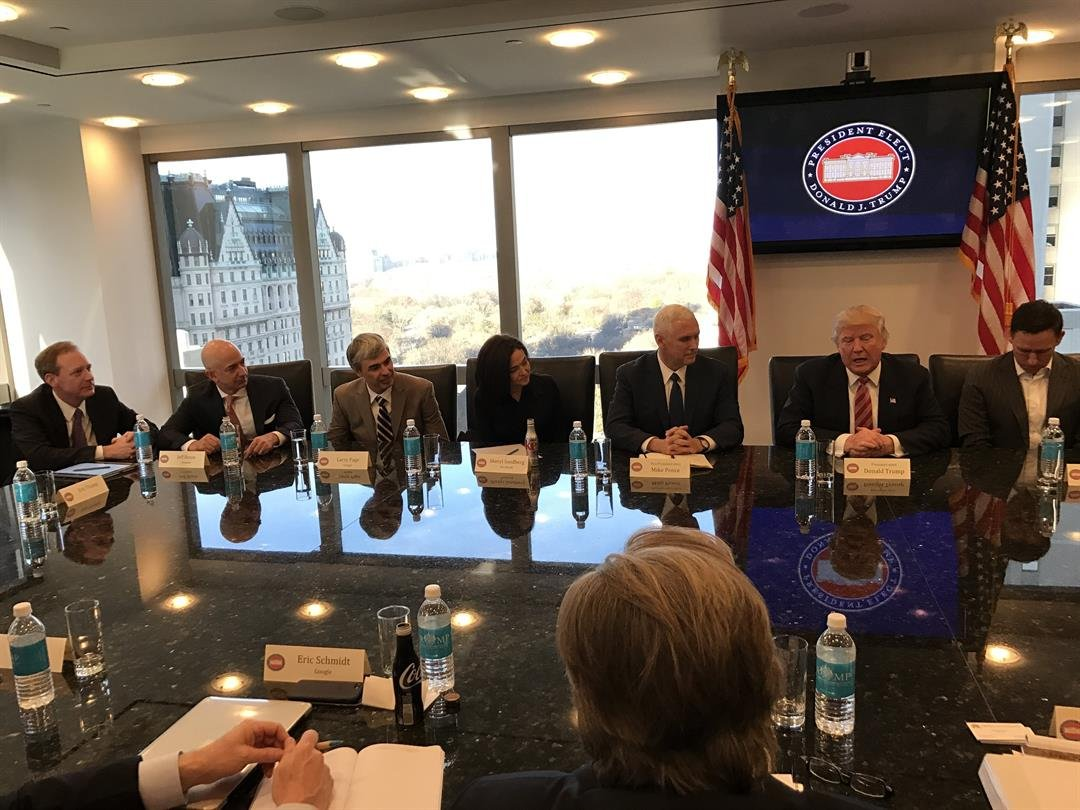 Then-President-elect DonaldTrump along with his transition team sat down with the tech industry leaders in Trump Tower in December of 2016. These leaders include: Safra Catz - Oracle, Jeff Bezos - Amazon, Brian Krzanizh - Intel, Larry Page - Alphabet,...