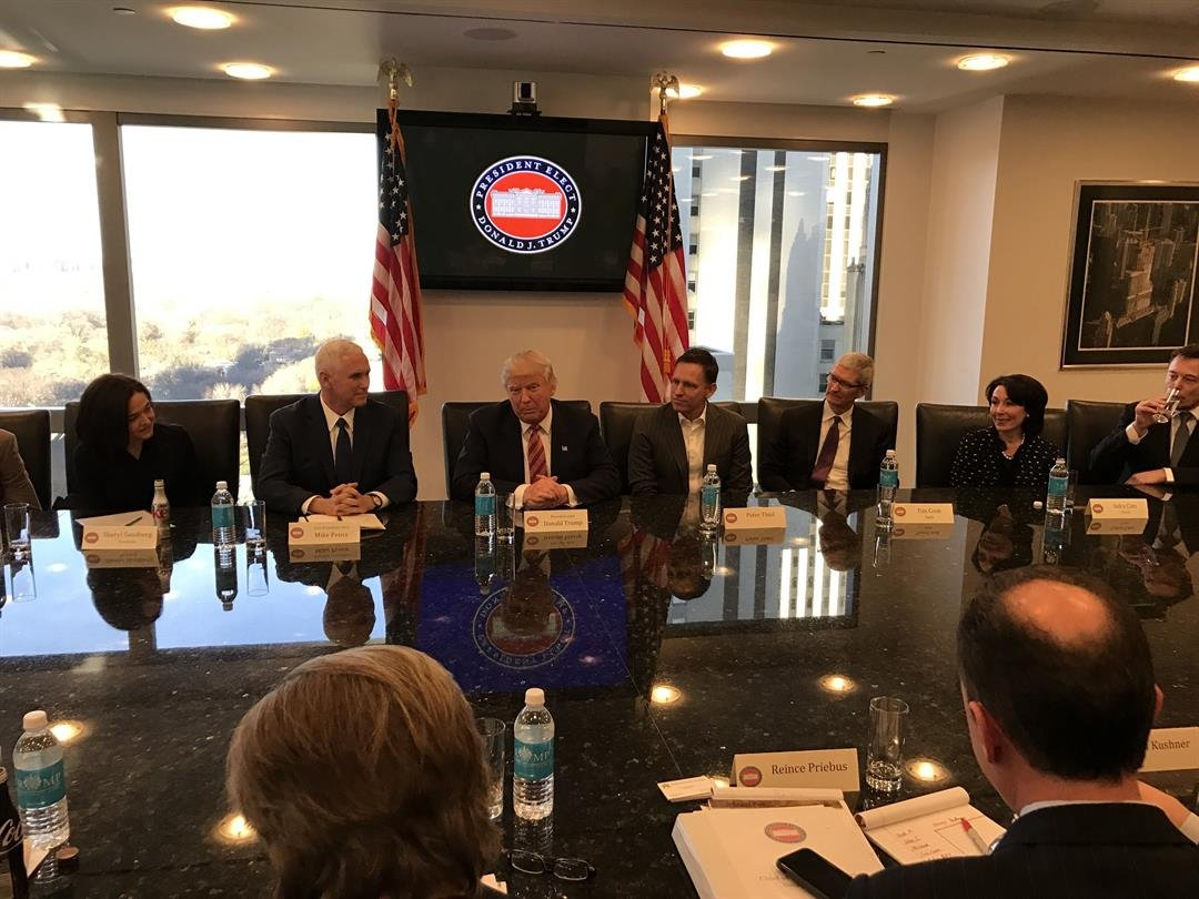 Then-President-elect Donald Trump along with his transition team sat down with the tech industry leaders in Trump Tower in December of 2016. These leaders include: Safra Catz - Oracle, Jeff Bezos - Amazon, Brian Krzanizh - Intel, Larry Page - Alphabet,...