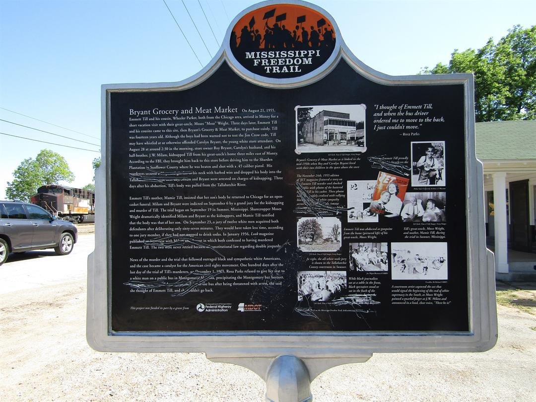 The marker outside of Bryant Grocery store on the MS Freedom Trail memorializing the spot where Emmett Till allegedly whistled at a white woman was vandalized