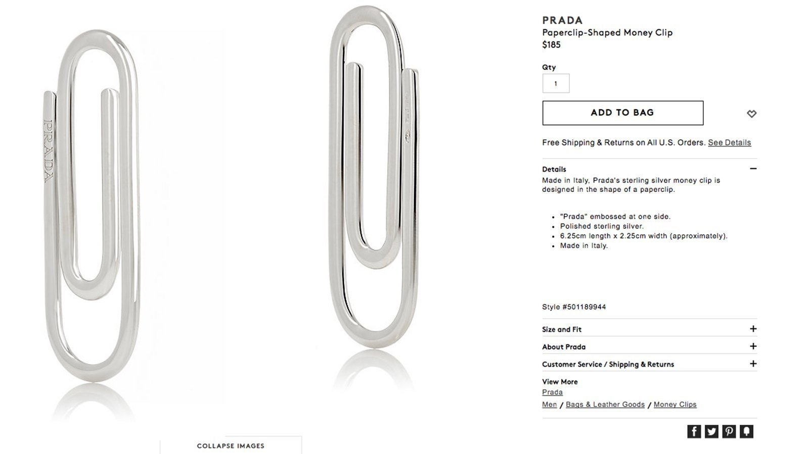 You can buy a $254 Prada paperclip, if you want