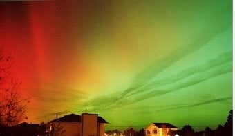 Photo of an Aurora Borealis (Northern LIghts) display in Rapid City, SD on November 5th, 2001. The Aurora this night was seen over many parts of the Northern Hemisphere north of the tropics, courtesy of an unusually large geomagnetic storm.