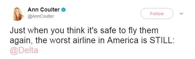 Ann Coulter tweets, calls Delta 'worst airline in America' after she says she was bumped from her seat on a flight.