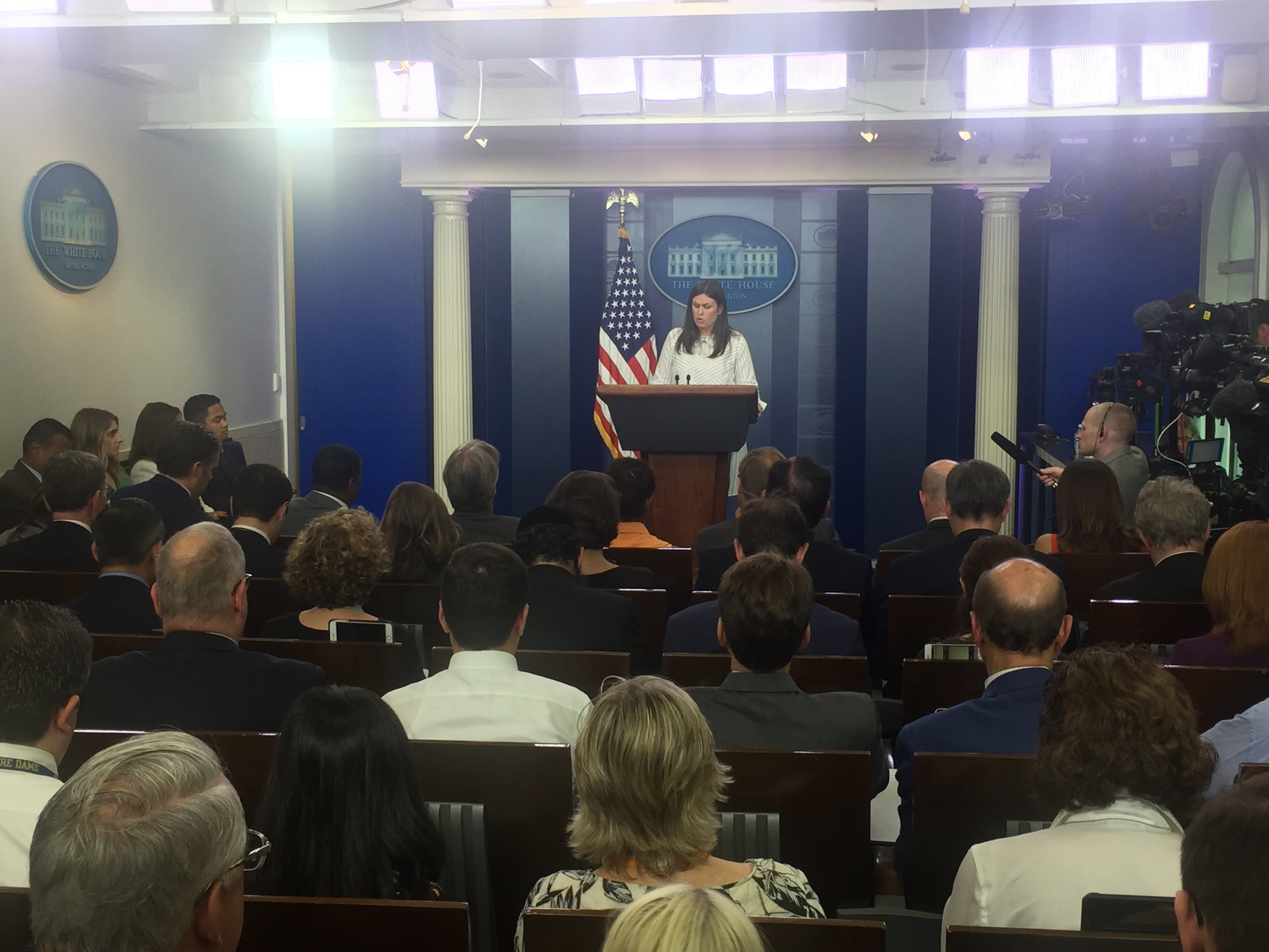 Sarah Huckabee Sanders speaks at the White House press briefing on July 12, 2017.