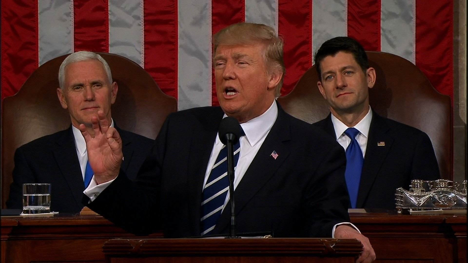 President Donald Trump delivers his first speech to Congress
