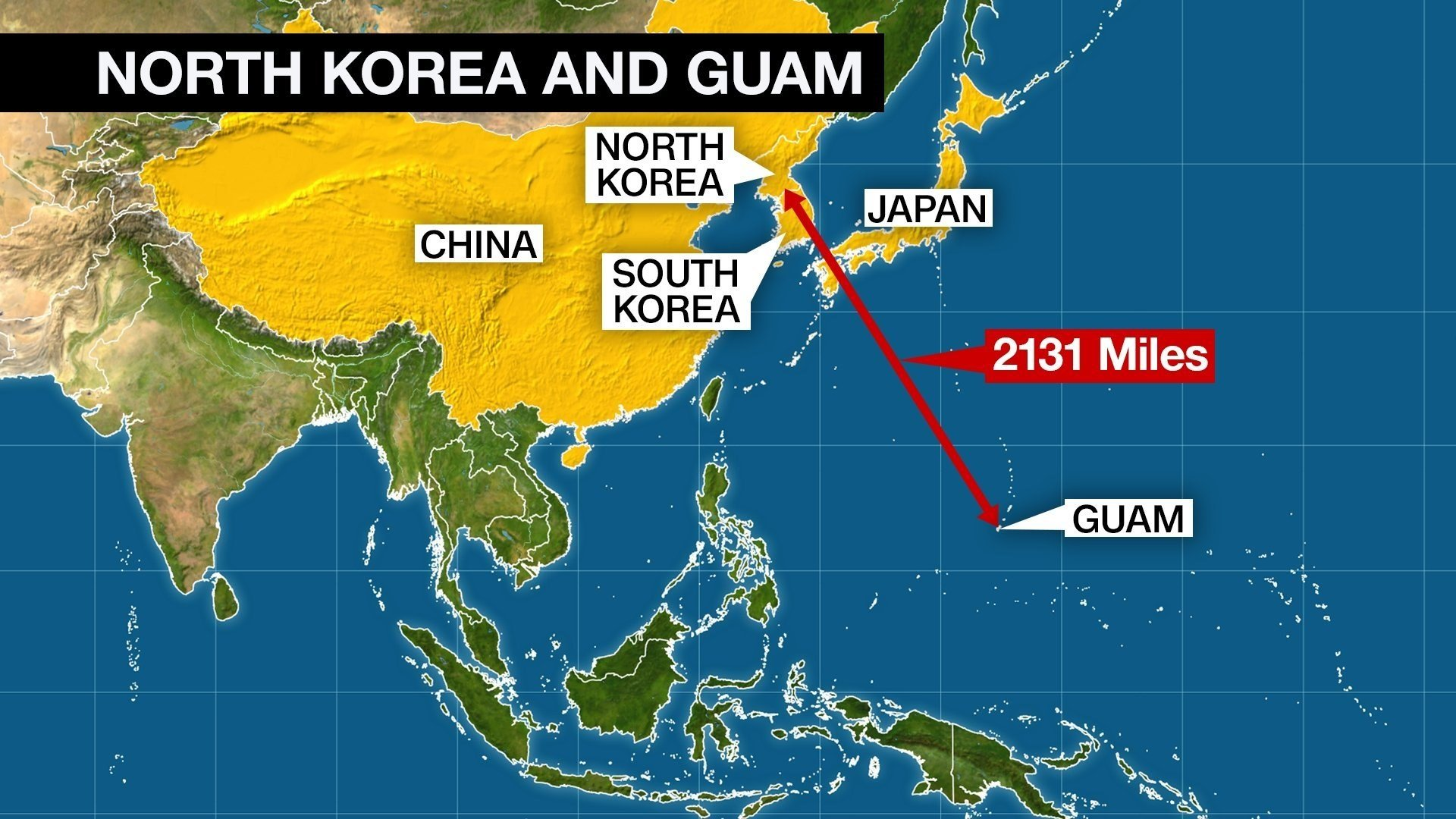 """North Korea's military is """"examining the operational plan"""" to strike areas around Guam with medium-to-long-range strategic ballistic missiles, state-run news agency KCNA said early Wednesday, August 9, 2017 local time."""