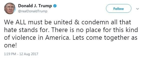 "President Trump tweeted about the violence at a Charlottesville white supremacist rally, saying, ""We all must be united and condemn all that hate stands for."""