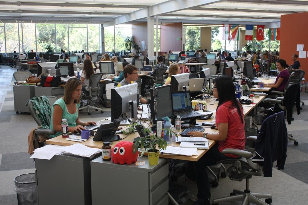 Facebook employees at work at the company's headquarters in Palo Alto, CA.  6/24/2009