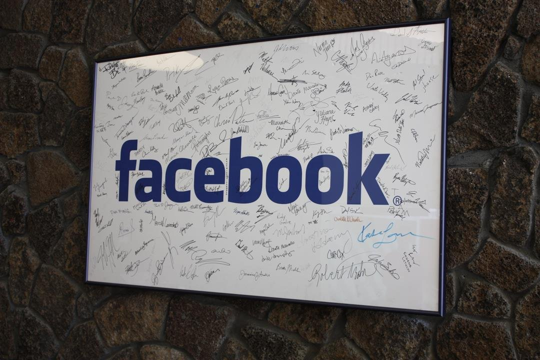 Sign in Facebook headquarters with signatures of the comapny's original employees.  Palo Alto, CA  June 24, 2009.