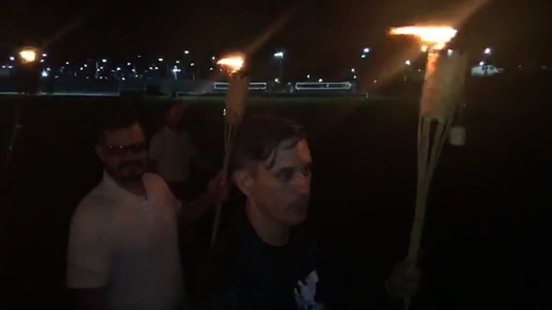 """A group of alt-right activists marched through the University of Virginia campus in Charlottesville, chanting """"blood and soil"""" and """"one people, one nation, end immigration."""""""