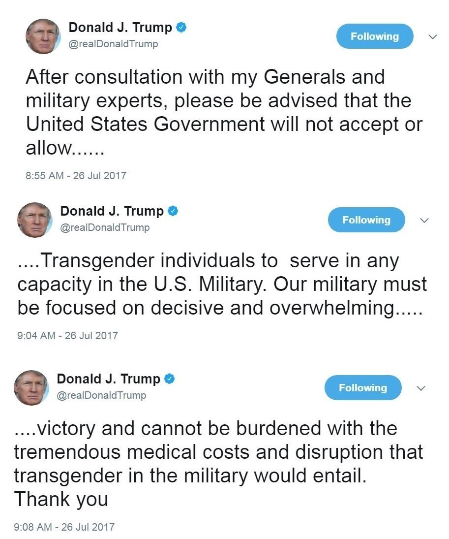 Trump sued twice in a day over trans military ban