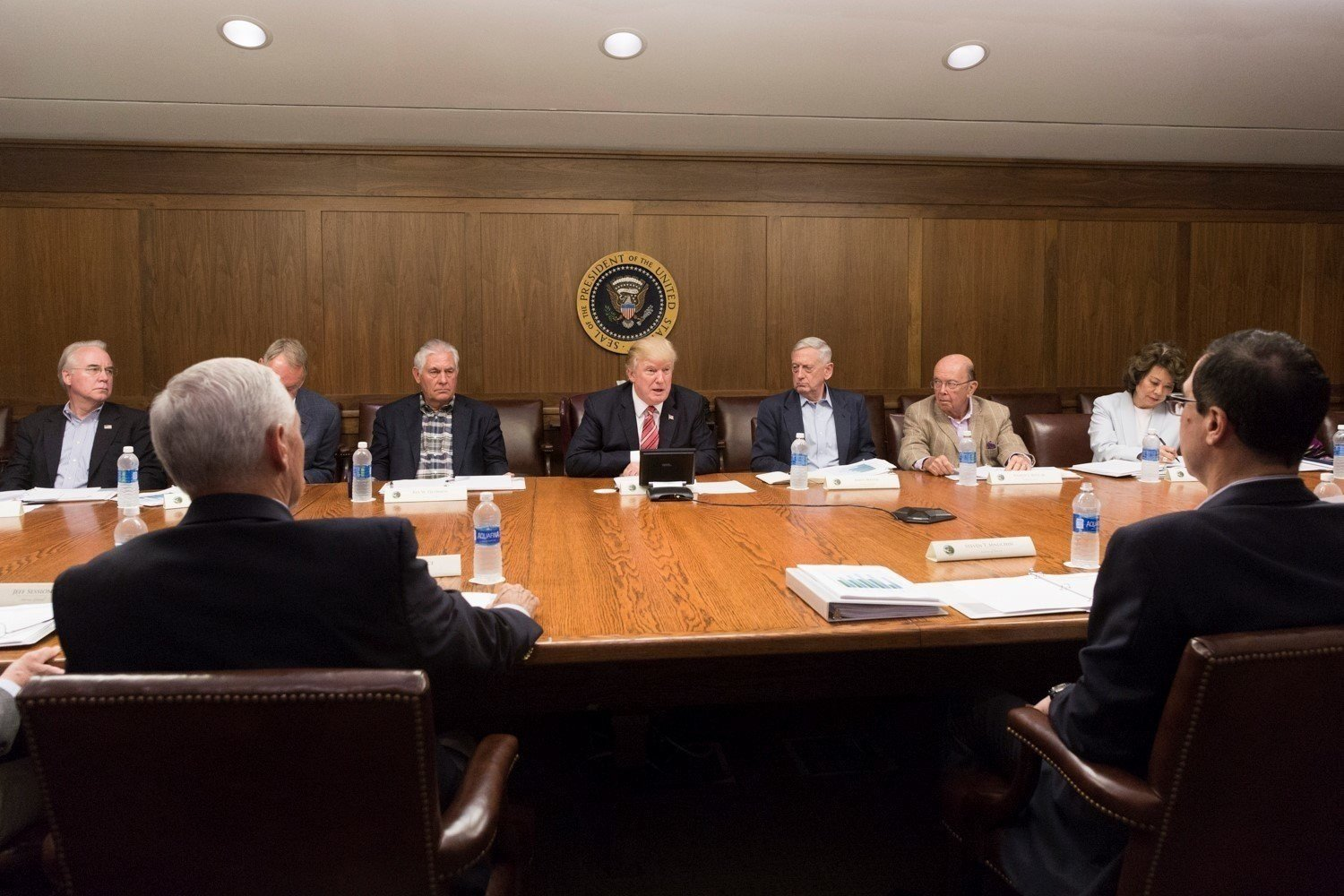 President Donald J. Trump joined by Vice President Mike Pence and members of the Cabinet participates in a Cabinet meeting Saturday