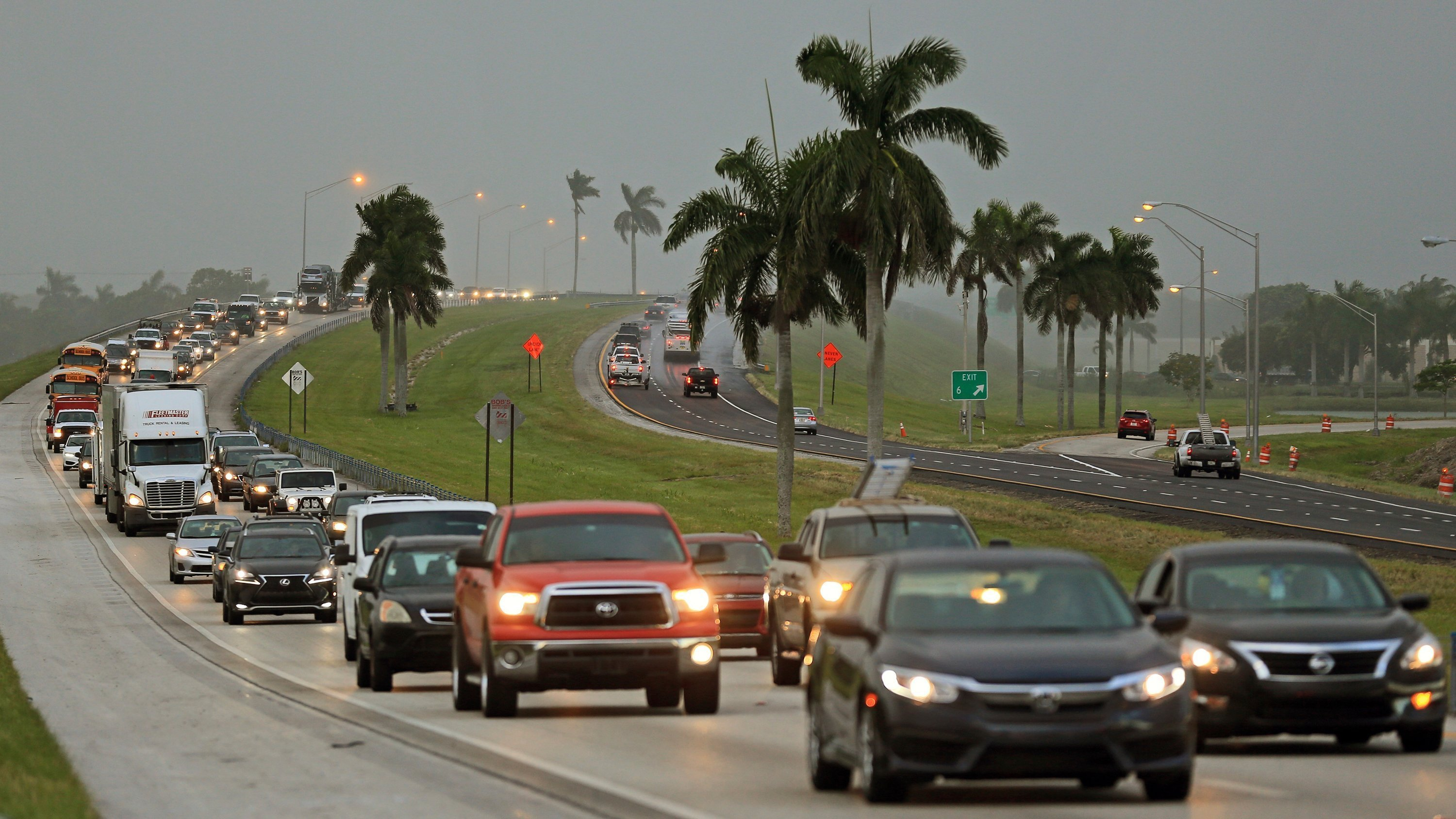 ***This image is for use with this specific article only.***  Residents of the Miami area and the Florida Keys streamed north in packed vehicles, anxiously rushing to dodge Hurricane Irma as the deadly Category 4 storm took aim at the state's eastern...
