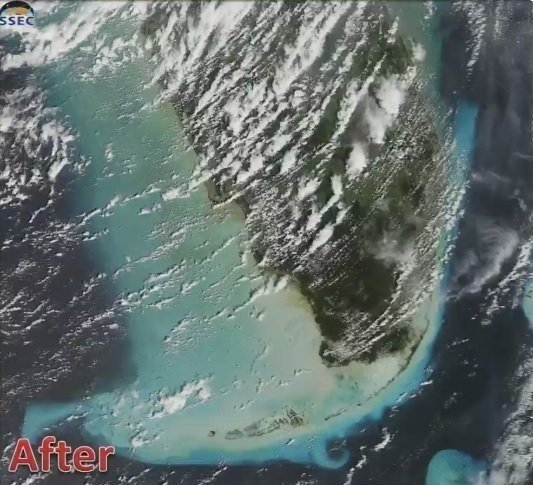Satellite images tweeted by the National Weather Service, from the Space Science and Engineering Center of the University of Wisconsin shows the sediment stirred up by Hurricane Irma in the shallow waters along the South Florida coast.