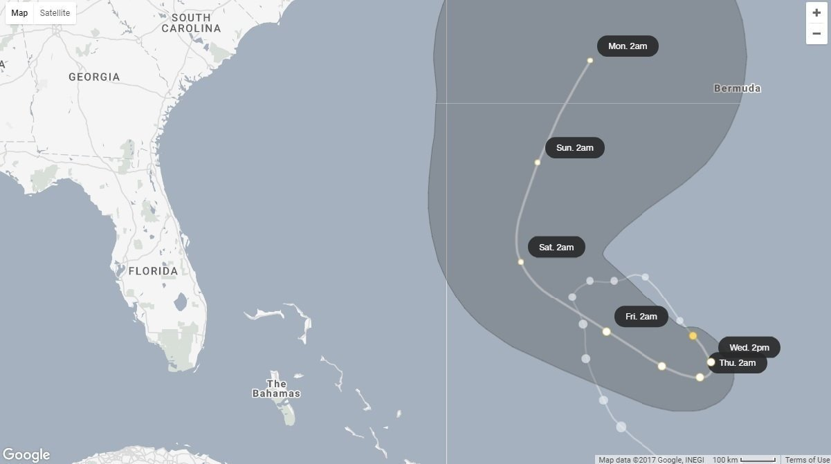 Hurricane Jose moving slowly as Category 1 storm