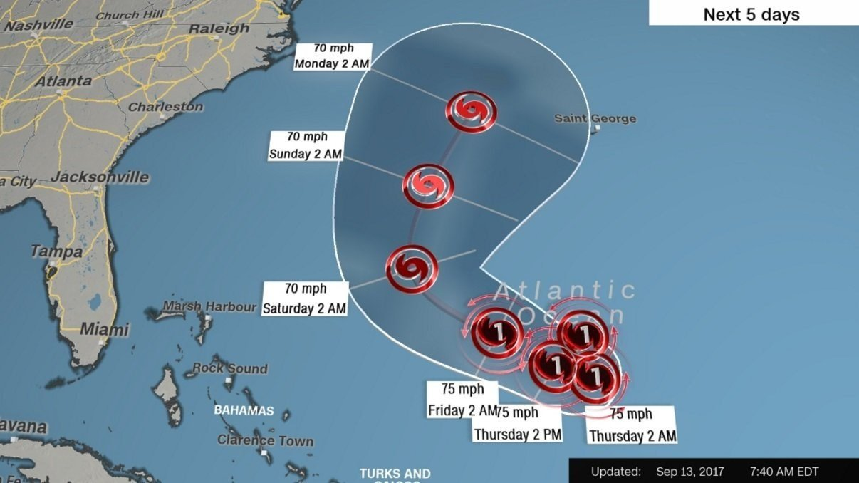 Hurricane Jose, sitting out in the Atlantic on Wednesday, is expected to make a slow clockwise rotation over the next 36 to 48 hours that could bring it closer to the US and the Bahamas.