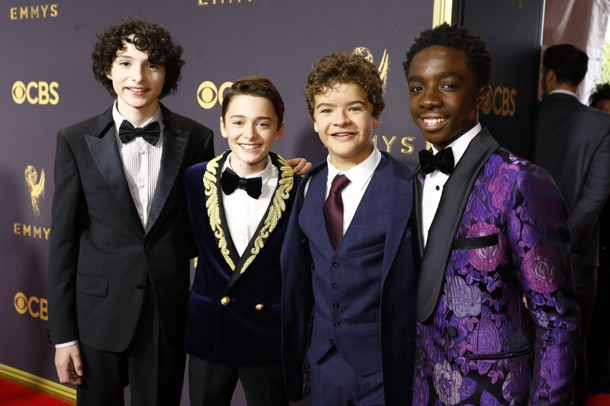 Actors Finn Wolfhard, Noah Schnapp Gaten Matarazzo and Caleb Mc Laughlin on the Red Carpet at the 69th Primetime Emmy Awards Sunday