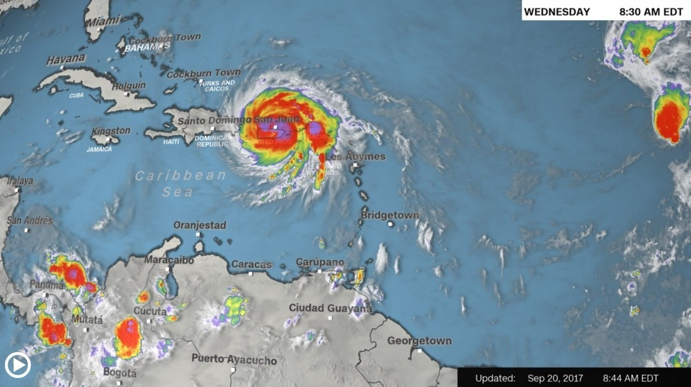 A graphic showing the path of Hurricane Maria as of early morning