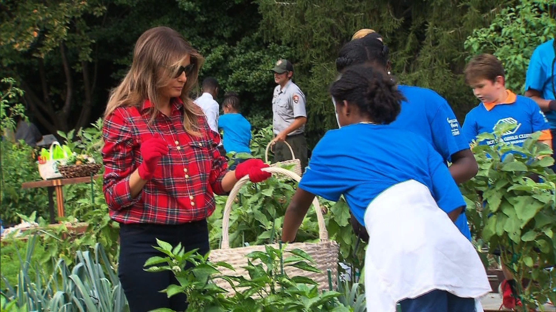 First lady does some gardening in White House kitchen garden