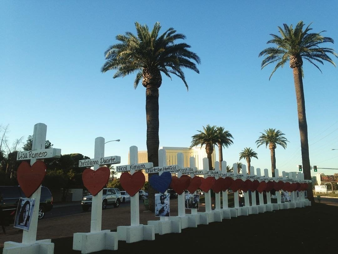 Fifty-eight crosses line the Las Vegas Strip. The crosses with hearts on them serve as memorial markers for the victims of the Vegas concert shooting on October 1st, 2017 . They were made and driven to Las Vegas from Illinois by Greg Zanis of Aurora,...