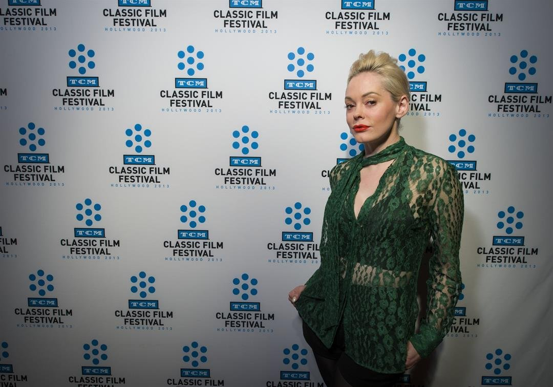 Rose McGowan poses on the red carpet at the TCM Classic Film Festival in Hollywood California on April 26, 2013.