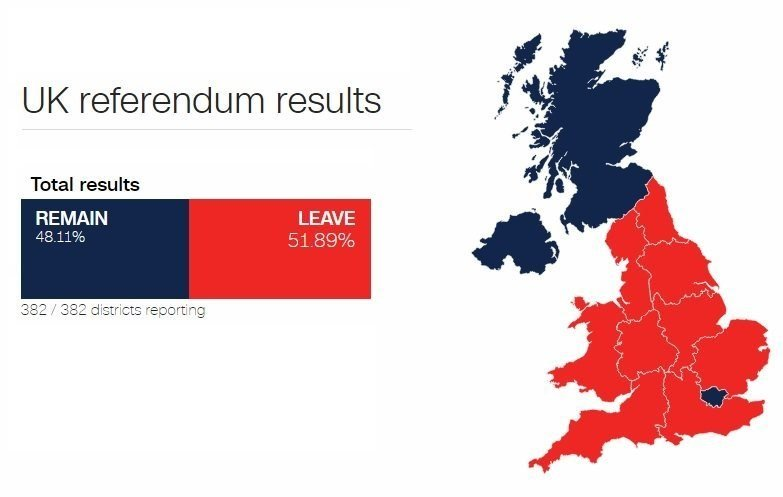 This map shows the breakdown by region of the UK referendum.