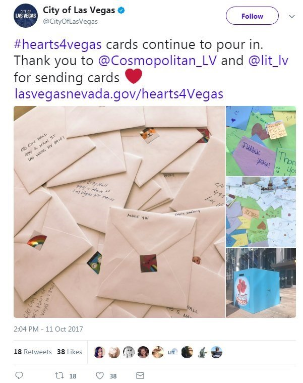 Addressed to Las Vegas City Hall, they offer heartfelt condolences over the October 1 mass shooting that left 58 dead, nearly 500 injured and psychic scars across the Nevada desert city.