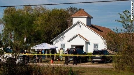 **This image is for use with this specific article only.**  A gunman killed at least 26 people and injured about 20 others at a Texas church Sunday morning in what Gov. Greg Abbott said was the largest mass shooting in state history.