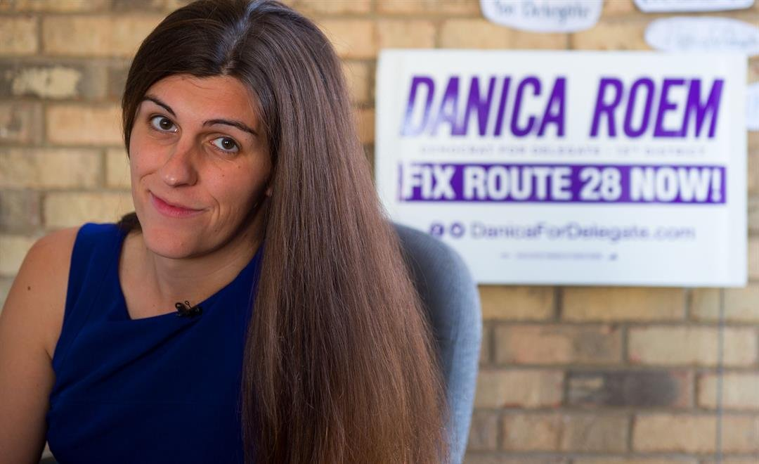 **This image is for use with this specific article only.**   Danica Roem, a Democrat for Delegate in Virginia's district 13, and who is transgender, sits in her campaign office on September 22, 2017, in Manassas, Virginia.