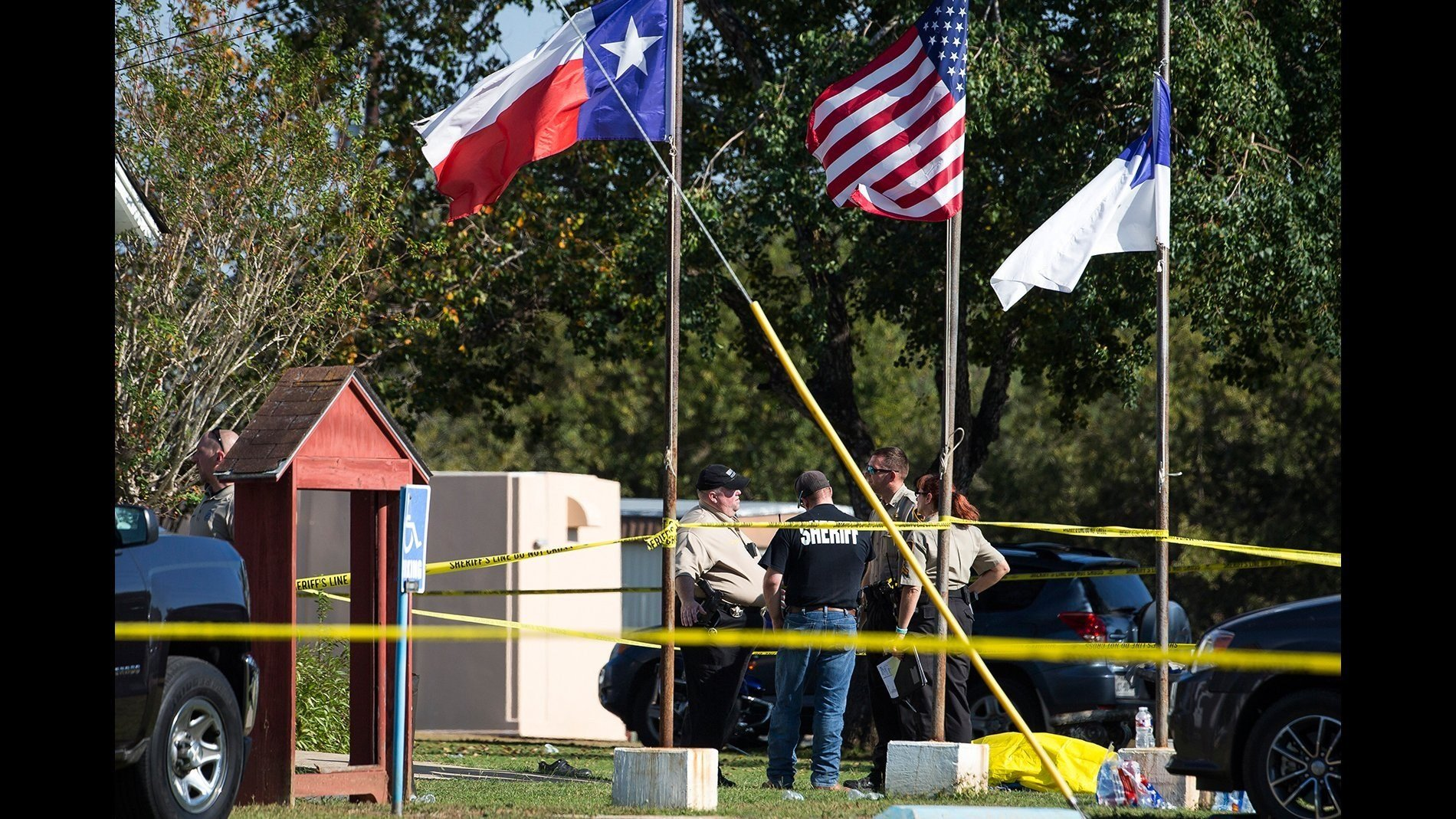 **This image is for use with this specific article only.**  Multiple people have been killed and many more injured in a shooting Sunday at First Baptist Church of Sutherland Springs, Texas, authorities said.  Credit: Nick Wagner/Austin...