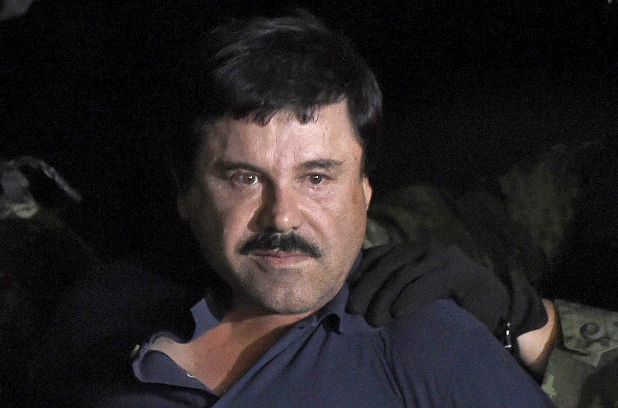 """**This image is for use with this specific article only**  Drug kingpin Joaquin """"El Chapo"""" Guzman will be examined by a psychologist next week after his lawyer argued the conditions of his confinement in New York have taken a toll on his memory and..."""